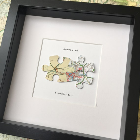 Jigsaw Puzzle Personalised Maps Long Distance Relationship Etsy