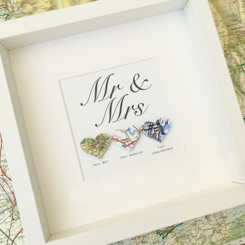 Wedding day gift  love heart maps  personalised artwork  image 0