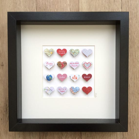 40th Wedding Anniversary Gift Paper Heart Frame Ruby Etsy