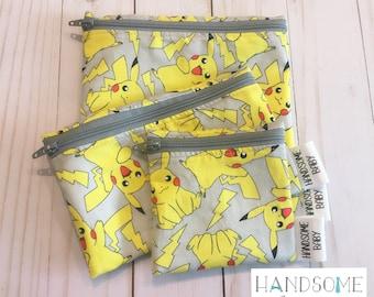 Pokemon Reusable Snack Sandwich Bag Food Safe Pouch Bag zipper Party Favours