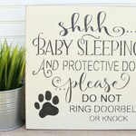 Shhh Baby Sleeping Door Sign, Do Not Knock Sign, no soliciting sign