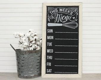 Rustic Kitchen Sign, Chalkboard Menu, Weekly Meal Planner, White, Framed Chalkboard