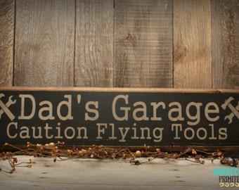 Dad's Garage Sign, Handcrafted, Dad's Garage, Rustic Wooden Sign