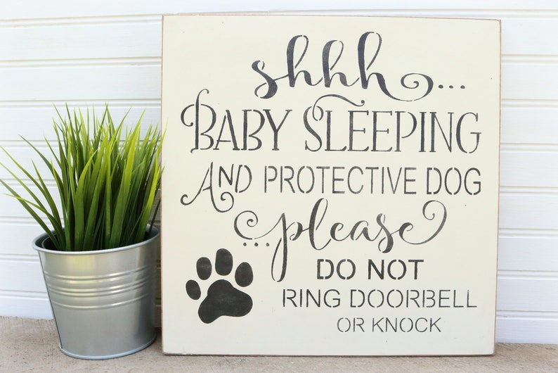 Shhh Baby Sleeping Door Sign Do Not Knock Sign no soliciting image 0