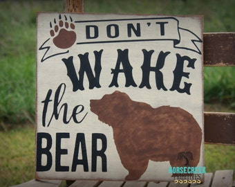 Rustic Bear Nursery Decor Wood Sign, Don't Wake the Bear, Woodland Baby Gift Idea