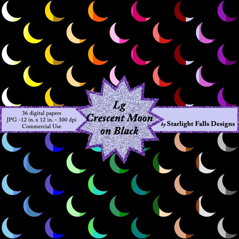 Lg Crescent Moon on Black Digital Paper Pack  Instant image 0