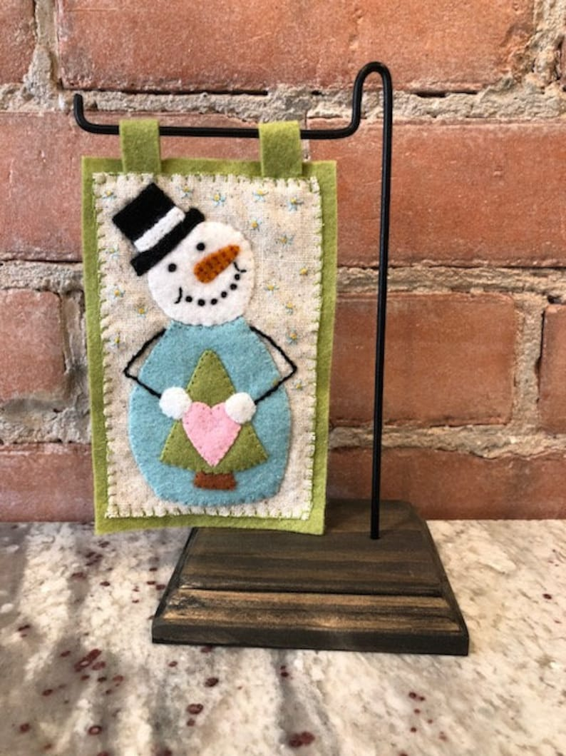 Snowman Wool /& Wool Felt Applique Christmas Pattern FREE SHIPPING