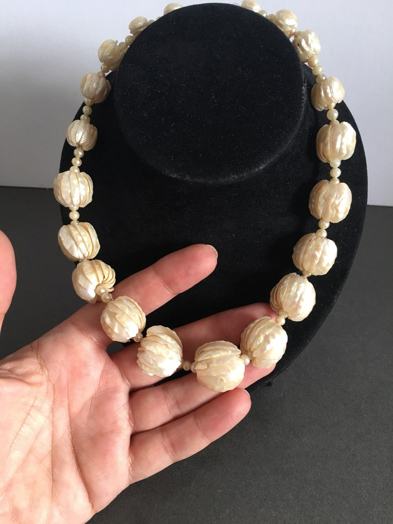 Vintage Mother of Pearl Necklace Ball Bead Layers Unusual Unique