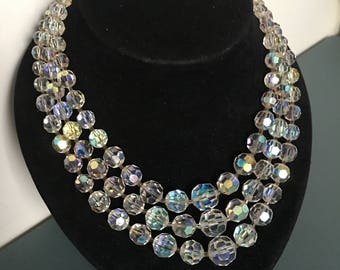 Vintage Aurora Borealis Necklace Genuine Faceted Beads With Silver Hallmark 835 Clasp