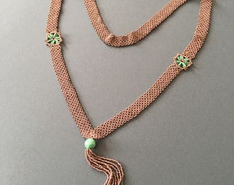Flapper Art Deco Necklace Sautoir Peking Glass Gold Look Seed Beads