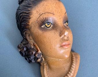 Vintage Chalkware, Ornamental Wall Charm, Plaque, Female Latin Hispanic Head, Hispanic Wall Plaque