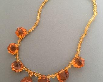 Art Deco Glass Necklace Amber Colour Beads Vintage Drop Pendant