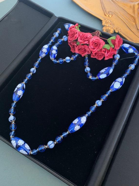 Vintage Murano Style Blue Glass Pendant