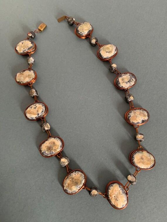 Brutalist Copper Chain Soldered Necklace Vintage 50s