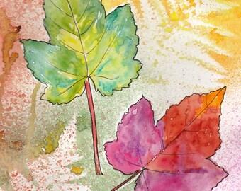 Handmade Watercolour Autumn Leaf cards