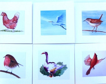 Watercolor Cards An Assortment of 6 Different Bird Notecards Perfect gift for Bird Lover Gift for her Hostess Gift. Bird Birthday Cards