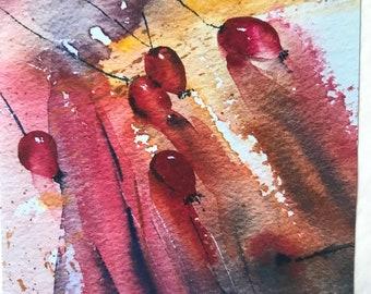 Handmade Watercolour Rose hip Cards