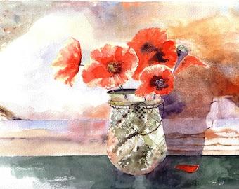Handmade Watercolour Poppy Cards