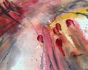 Original Watercolour Rosehips Artwork