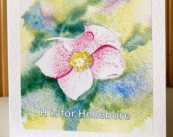 Handmade Watercolour Hellebore personalised card