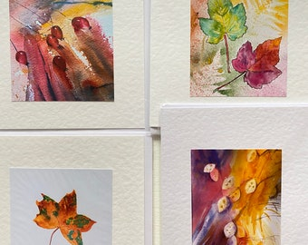 Handmade Watercolour Autumn note Cards