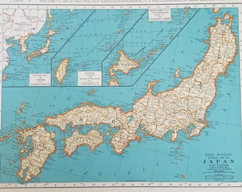 Vintage korea map etsy japan mapchina mapsiam korea taiwan hokkaido indochina chosen shanghai korea burma yezo honshuplace on the world map2 sided 1930s 9x12 gumiabroncs