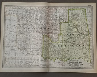 Etsy your place to buy and sell all things handmade oklahoma and indian territory mapoklahoma city beaver boise cityusa state mapsunited states map artplace on world map1900 10x15 gumiabroncs Images