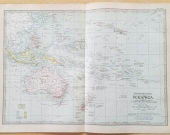 Carte Australie Et Iles Fidji.Carte Carte Australie Oceanie Sydney Melbourne Brisbane Etsy