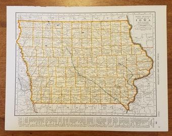 Garner Iowa Map.Iowa Mapdes Moines Davenport Garner Toledo Burlintonusa Etsy