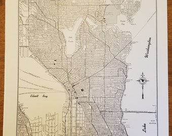 Vintage Seattle Map Etsy