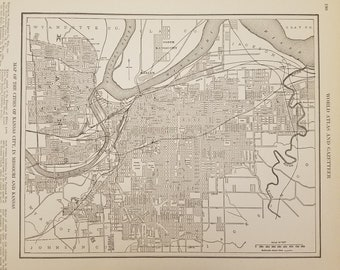 Vintage kansas city map | Etsy