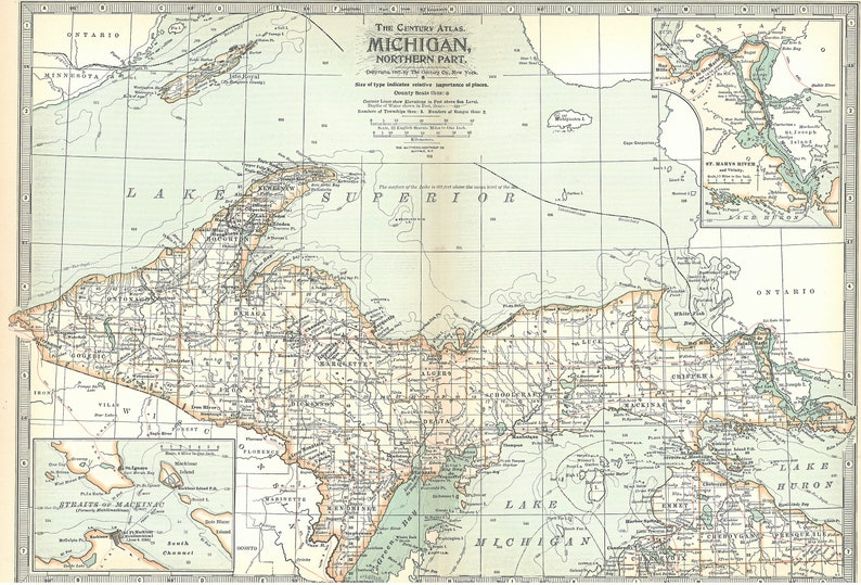 photo relating to Printable Michigan Maps named Michigan Map,1897 Michigan Region Map,North South Pieces,2 Maps,Detroit Lansing, Nation Map Atlas,Atlas Country Maps,Printable Electronic Down load