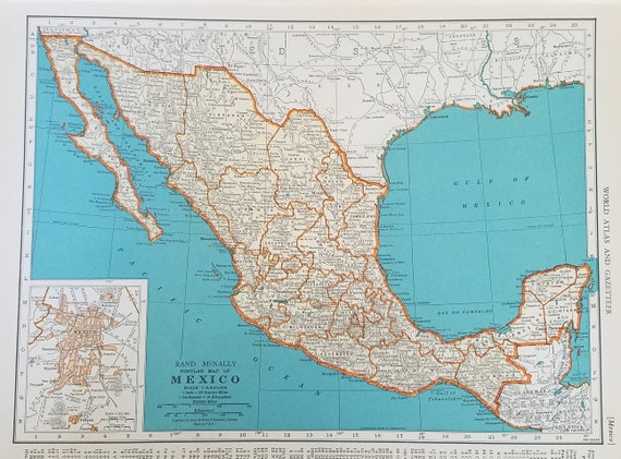 Mexico Map,Central America Map,Guatemala Salvador Honduras Nicaragua Costa  Rica Panama Canal,Place on World Map,2 Sided 1930\'s 1940\'s 9x12
