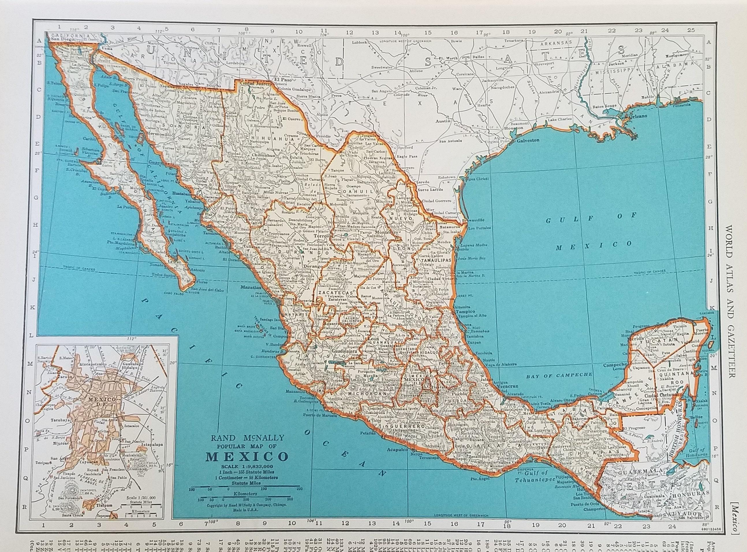 Honduras Mexico Map.Mexico Mapcentral America Mapguatemala Salvador Honduras Etsy