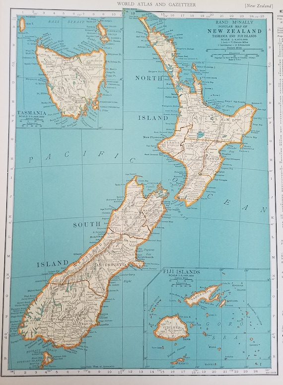New Zealand Map Solar System Tasmania Fiji Islands Earth Orbit Eclipses Saturn Jupiter Pluto Place On World Map 2 Sided 1930 S 1940 S 9x12
