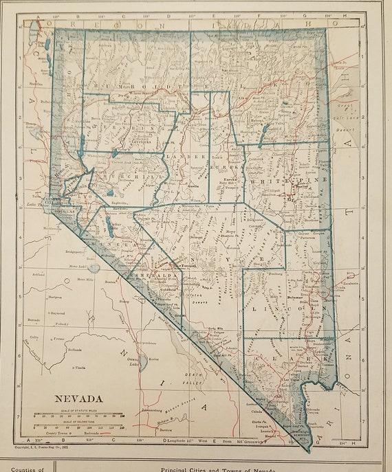 Nevada Map,Elko Reno Carson City Las Vegas Eureka Virginia City,USA State  Map Art,United States Map Art,Place on the World Map,1920\'s 8x10