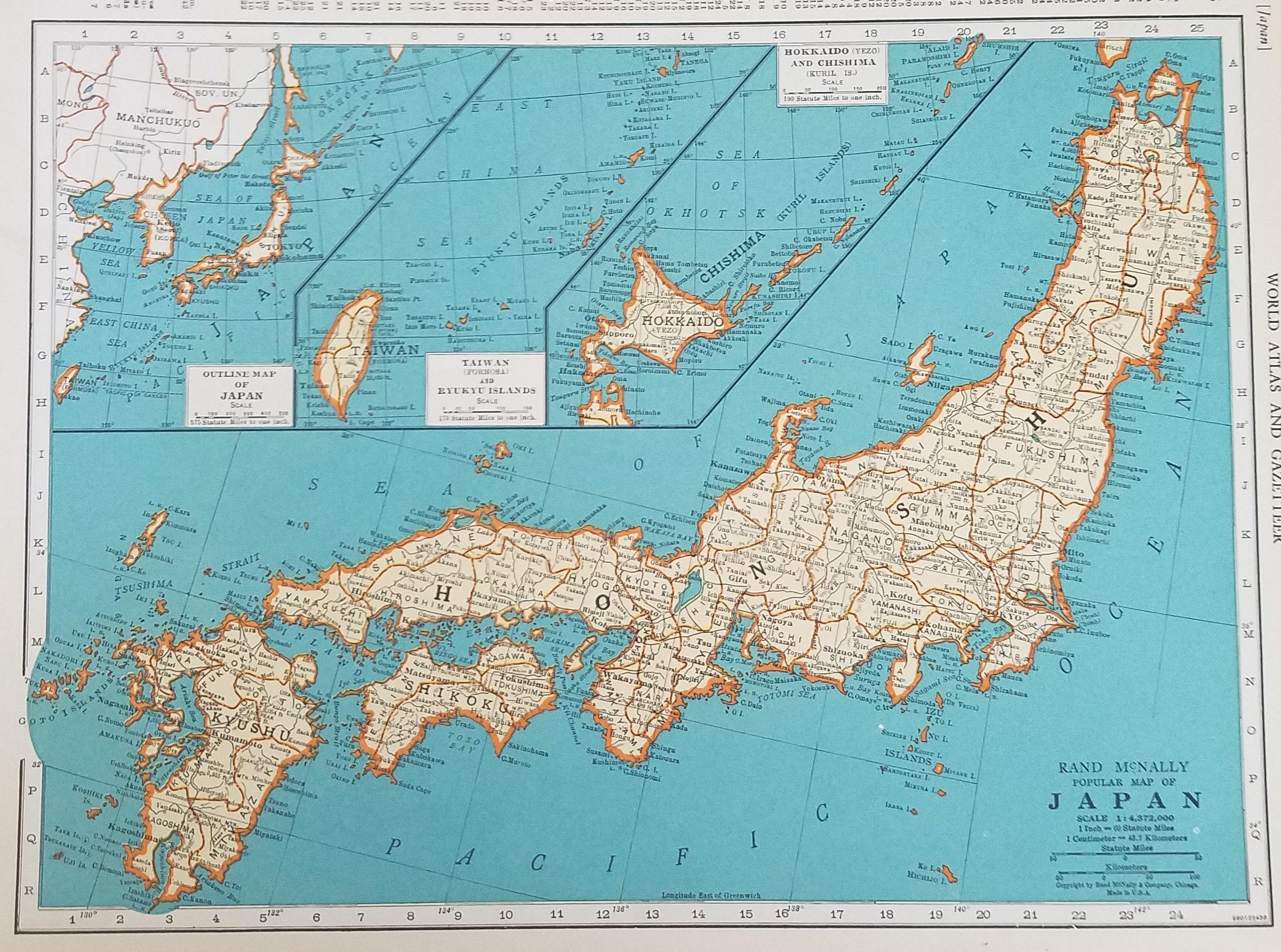 Hokkaido World Map.Japan Mapchina Mapsiam Korea Taiwan Hokkaido Indochina Etsy