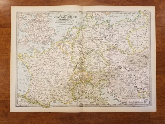 Europe Map,Central Europe Travel Map,England France Switzerland Italy  Germany,Europe Atlas Wall Map,Place on the World Map,1902 10x15