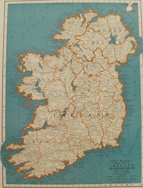 1940s Map Of Europe.Ireland Mapnorthern Ireland Mapdublin Londonderry Etsy