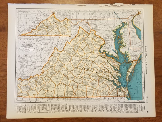 Chesapeake Bay On Map Of Usa.Virginia Mapnorfolk Richmond Lynchburg Chesapeake Bay Etsy