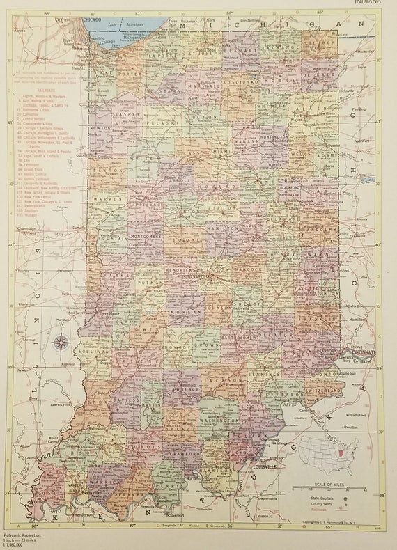 Indiana Map,Gary Terre Haute Indianapolis,Railroad Route Map,USA State  Maps,United States Wall Map Art,Place on the World Map,1955 9x12