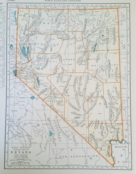 Nevada Map,Las Vegas Reno Carson City Winnemucca Elko Fallon,USA State  Map,United States Wall Map Art,Place on World Map,1930\'s 1940\'s 9x12