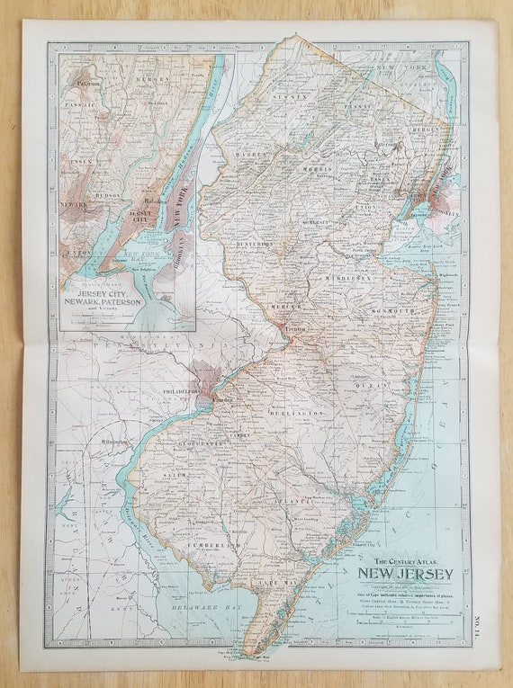 New Jersey Map,Atlantic City Trenton Cornell Paterson Hoboken,USA State  Map,Place on the World Map,United States Wall Map Art,1906 10x15