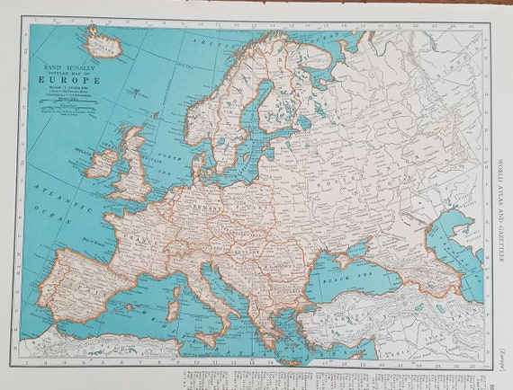 Europe Mapmap Of Europeireland Scotland Spain France Italy Etsy