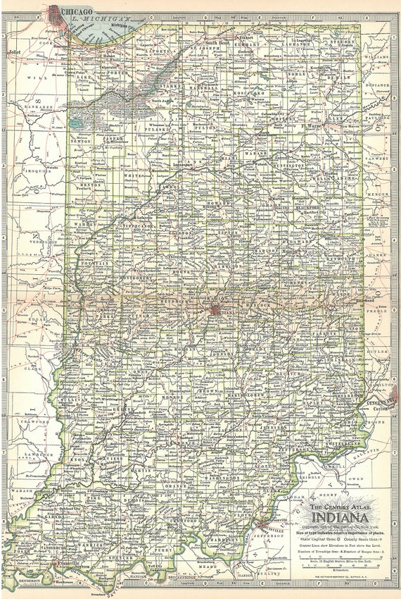 Indiana Map 1897,Indianapolis Beaver Lake,State Map Atlas,Vintage USA Atlas  State Maps,Place on the World Map,Printable Digital Download