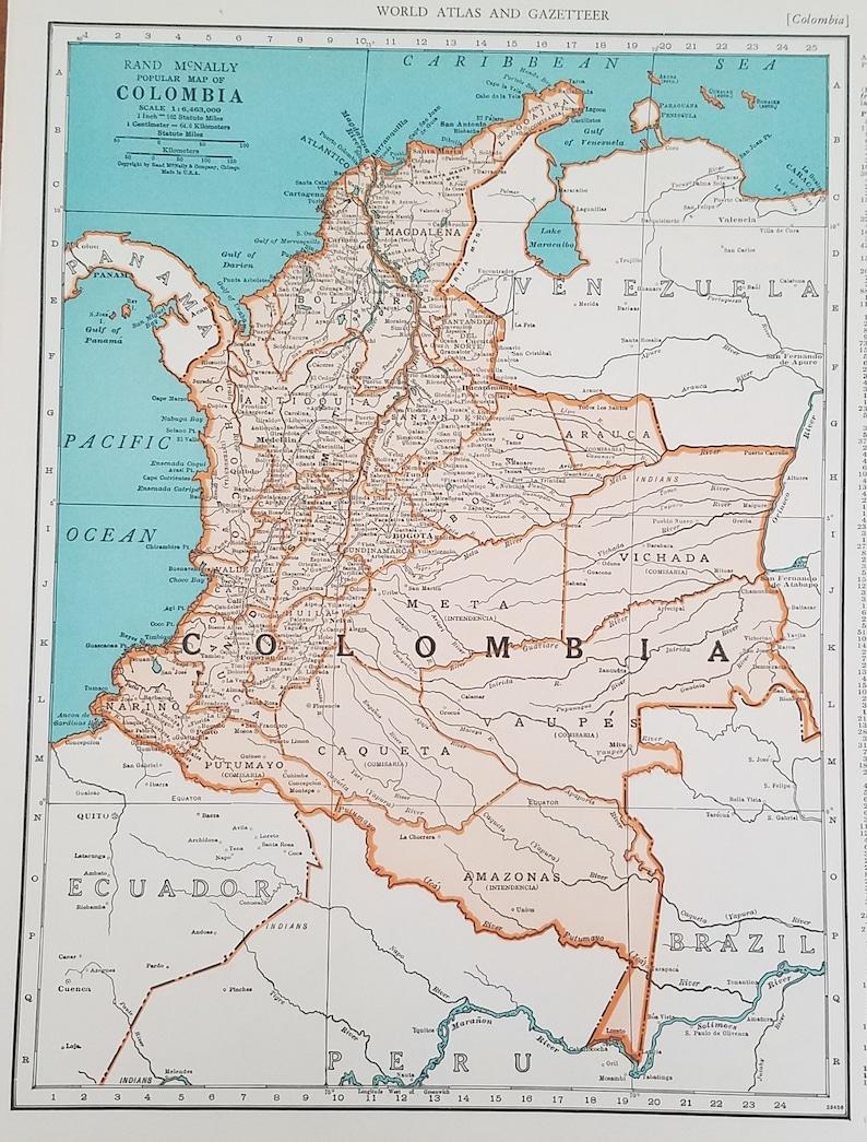 Colombia MapBogota Panama Venezuela Amazon Amazonas Tunja | Etsy