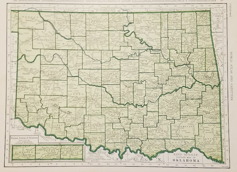 Oklahoma Map,Ft Smith Purcell Beaver Shawnee OKC Ada,USA State Maps,United  States Wall Map Art,Place on the World Map,1944-1947 9x12