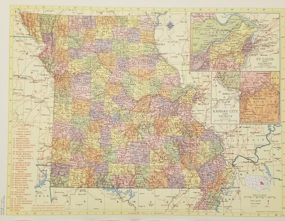 Missouri Map,Saint Louis Kansas City Hannibal,Railroad Route Map,USA State  Maps,United States Wall Map Art,Place on the World Map,1955 9x12