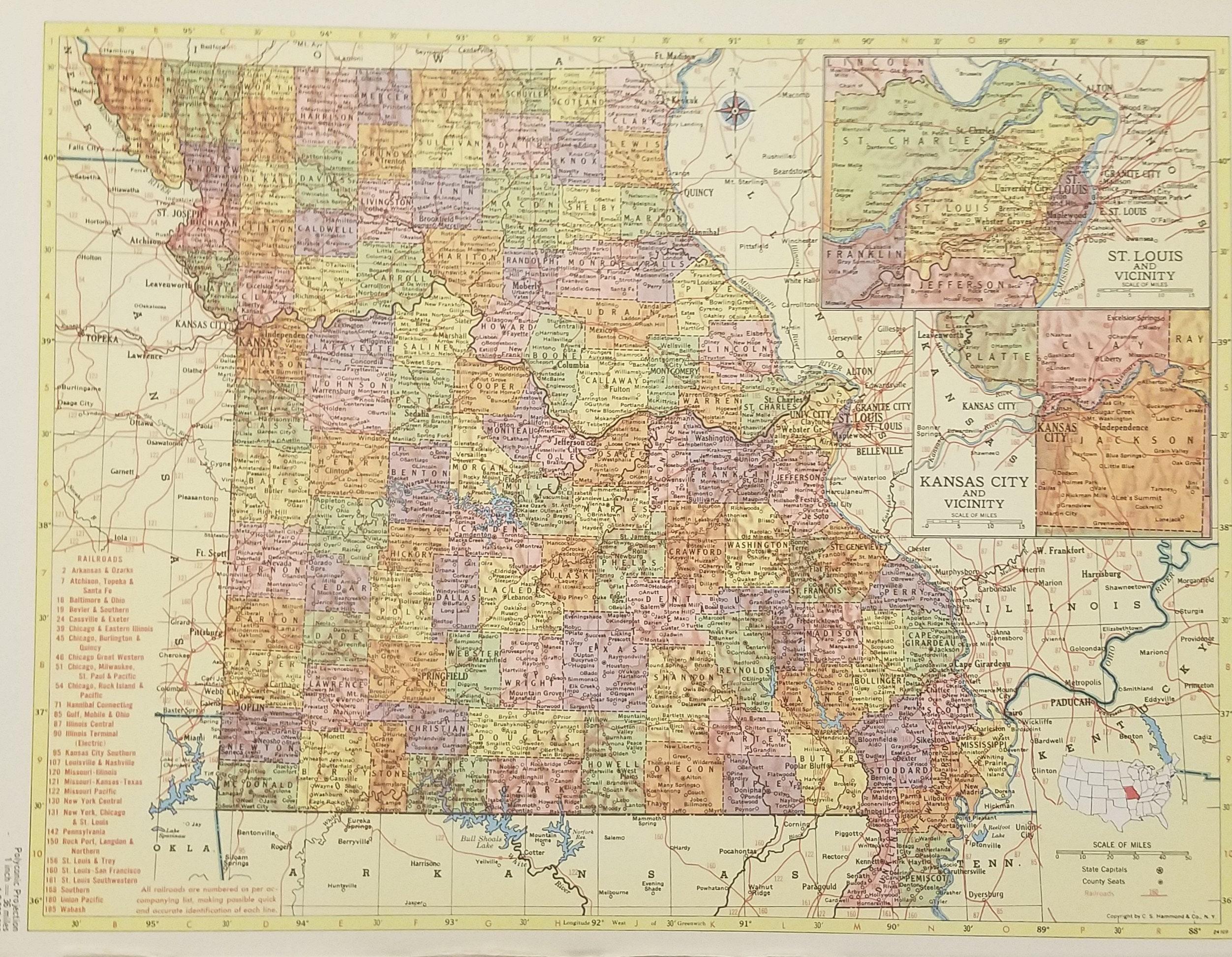 Missouri MapSaint Louis Kansas City HannibalRailroad Route | Etsy