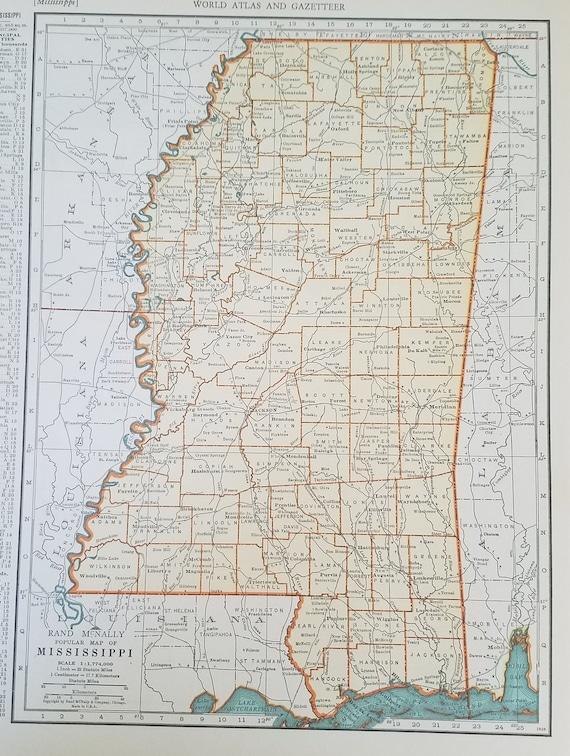 Mississippi Map,Jackson Gulfport Biloxi Philadelphia Columbia,USA State  Maps,United States Map Art,Place on the World Map,1930\'s 1940\'s 9x12